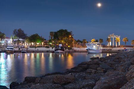 Side,Turkey -  ancient Mediterranean coast city harbor in the evening 28 SEP 201
