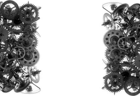maquina de vapor: Viejo fondo de engranajes de reloj aislados en el blanco Foto de archivo