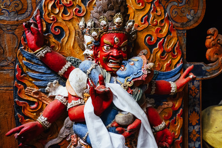 Dharmapala statue in Tsemo Hompa in Leh, India