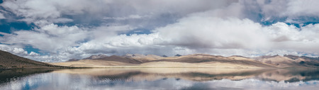 Tso Moriri Lake Panorame Ladakh Norh India Stock Photo