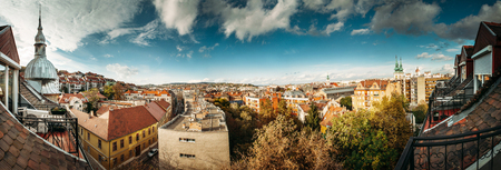 Red roofs in autumn Budapest panoramic view