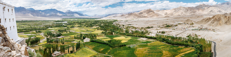 Panorama view on the Himalaya valley near the Thiksey Monastery in Leh