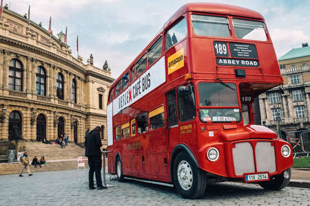 Prague, Czech Republic - OCTOBER 15: Famous London red bus AEC Routemaster as a