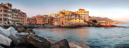 Sunset in Boccadasse panorame image