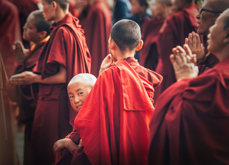 Choglamsar, India - AUGUST 19: Monks and Nuns at Dalai Lama 14th Sermon on AUGUST 19, 2016 in Choglamsar, Leh region, Jammu & Kashmir, India. Editorial