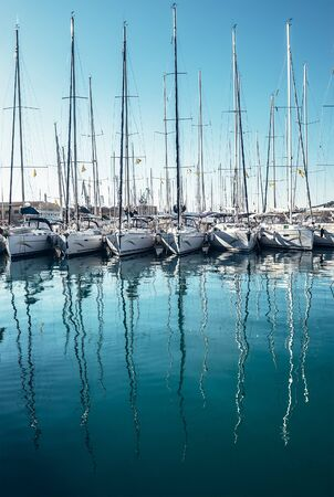 Yachts in the bay docks at Trogir town, Dalmatia, Croatia