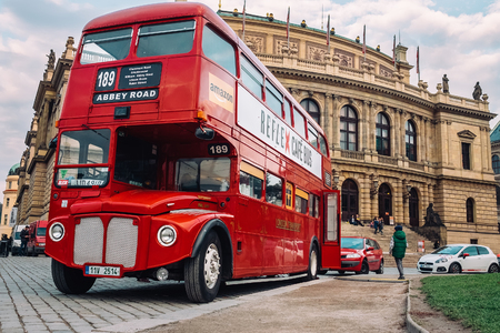 Prague, Czech Republic - OCTOBER 15: Famous London red bus AEC Routemaster as a Cafe Bus near the Czech Philharmonic on October 15, 2016 in Prague, Czech Republic.