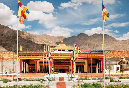 New Temple Hall in Thiksey Monastery near from Leh in Ladakh, India