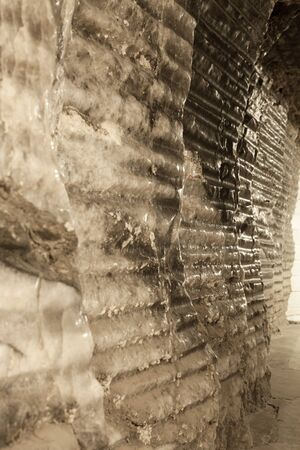 Salt walls in the miners corridors deep undeground - Wieliczka Salt Mine Stock Photo