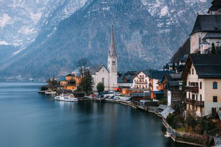 Austrian Hallstatt at the spring evening