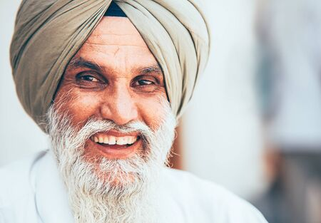 Amritsar, India - August 15, 2016: Smiling sikh portrait in the Sikhism holy Amritsar city. Editorial