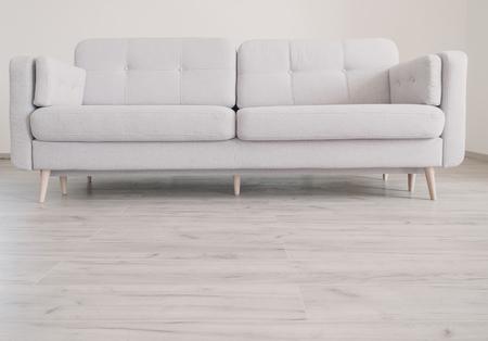 Cozy contemporary scandinavian Style Sofa on the oak laminate flooring