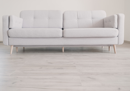 Cozy contemporary scandinavian Style Sofa on the oak laminate flooring
