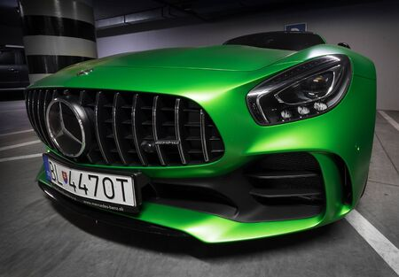 Zilina, Slovak Republik  Slovakia - November 09, 2017: Native green color Mercedes-AMG GT R Coupe standing at underground parking in Zilina, Slovakia