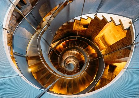 Glasgow, Scotland, UK – March 13, 2018: Famous helical staircase at the Lighthouse - the national centre of architecture and design in Glasgow, Scotland, United Kingdom.