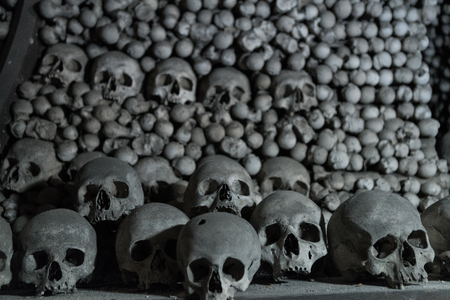 Human bones and skulls in the Ossuary at Kutna Hora church Czechia Banco de Imagens