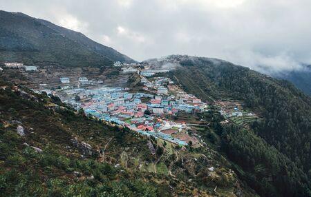 Namche Bazaar panoramic View . Everest Base Camp (EBC) trekking route. Sagarmatha National Park, Nepal.