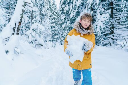 Young teenager boy have a fun during the snowy forest weekend walking. Kid carrying the huge snow piece and going by the path without any headdress. Simply fun sources concept image.