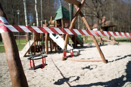 All children playgrounds was prohibited for using in Zilina city as a prevent measures to avoid 2019–20 coronavirus pandemic in Europe. Playground Swings taped around with restricted signs.