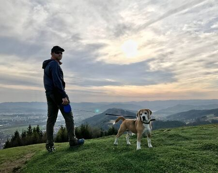 Young Man have a mountain dog walking with his beagle dog.