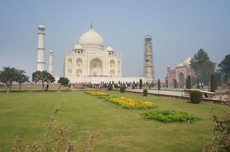 Beautiful view in landscape of Taj Mahal, India in misty weather in the morning.