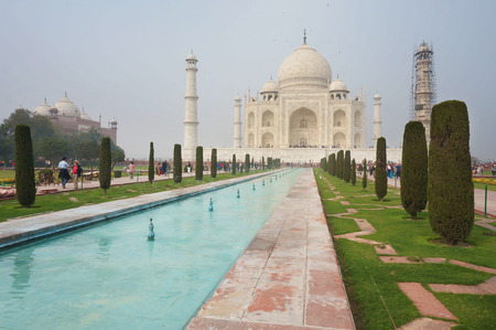 terrific: A terrific Taj Mahal view shot from the right side of the Taj Pool in the misty morning weather.