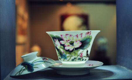 tradional: china style teacup Stock Photo