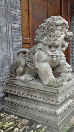 tradional: Stone lion Stock Photo