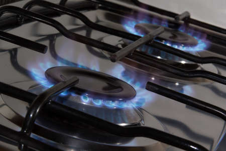 blue flame from gas range burners  photo