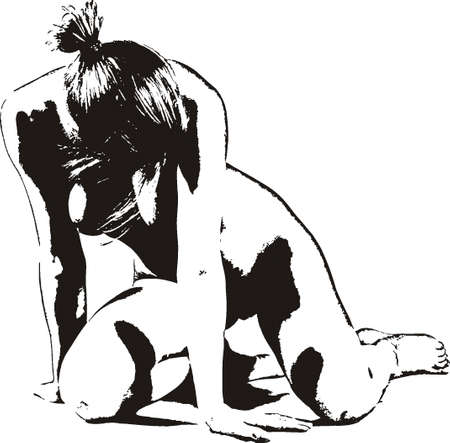 nude female: Silhouette of the naked girl.Black and white