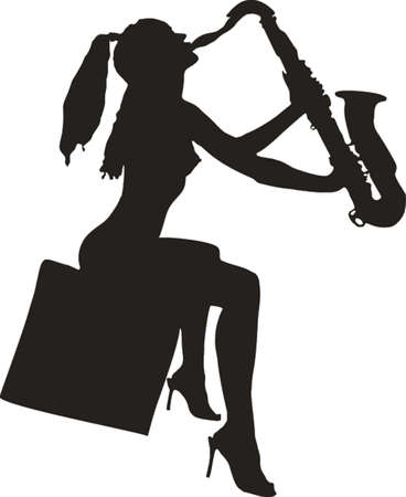 ni�a desnuda: Silueta de la ni�a desnuda jugar en un saxof�n  Vectores