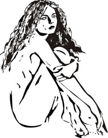 ni�a desnuda: La chica desnuda sentada en un piso