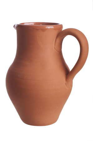 Handmade traditional clay jug isolated on white background Stock Photo