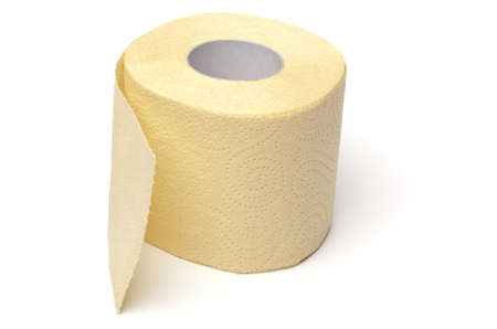 Single yellow toilet paper roll isolated on white background Stock Photo