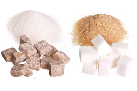 White and brown sugar isolated on white background without shadow