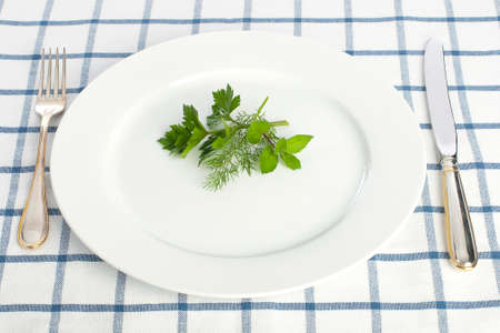 Parsley dill and  mint leaves on the plate with fork and knife on tablecloth