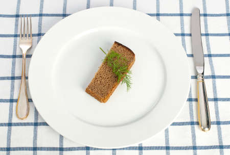 Piece of bread and dill on the plate with fork and knife on tablecloth