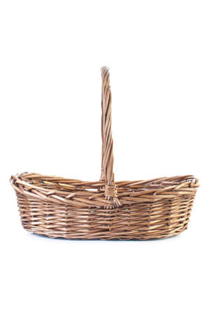 interleaved: Empty wicker basket isolated on white background with shadow Stock Photo