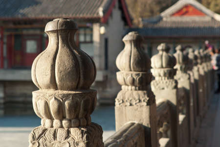 Chinese stone fence (lotus flowers) in Summer Palace, Beijing, China