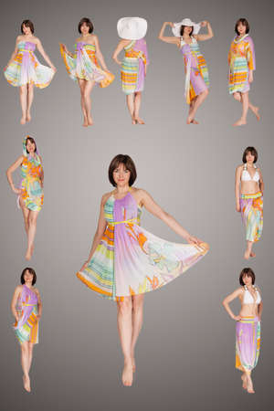 collage of fashionable young woman girl wearing transformer dress posing