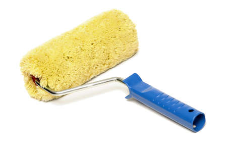 unused: unused paint roller isolated on a white background Stock Photo