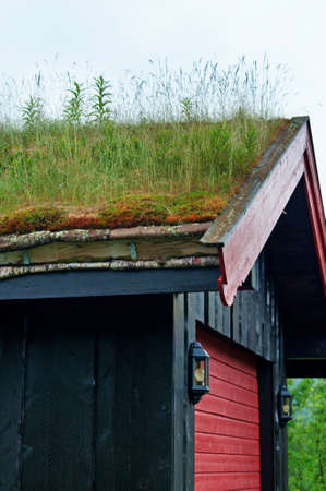 Traditional Norwegian House with grass roof Stock Photo
