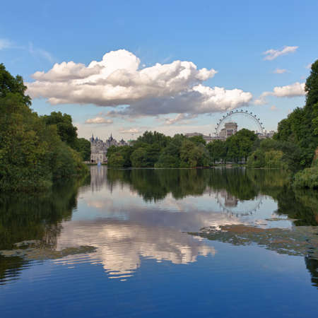 St. James Park with London Eye and Horse Guards Buildings, London, UK photo