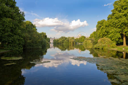 St. James Park with London Eye and Horse Guards Buildings, London, UK