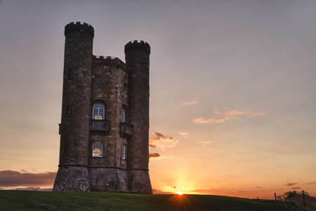 broadway tower: Broadway Tower at sunset Cotswolds, UK Editorial