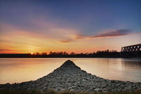 karlsruhe: Sunset at Rhein river, Wörth, Germany Stock Photo