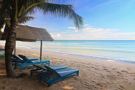 far off: Sand beach with sun beds in Phu Quoc close to Duong Dong, Vietnam