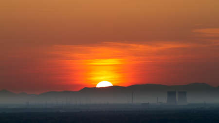 overlook: Panorama with Nuclear Power Plant in Philippsburg at sunset, Germany