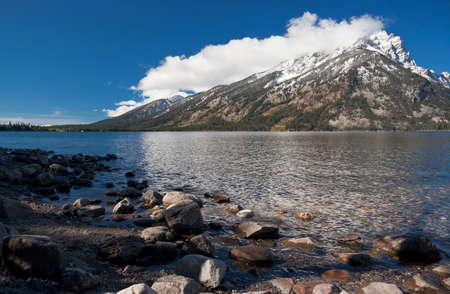 far off: Jenny lake at Grand Teton National Park, Wyoming, USA