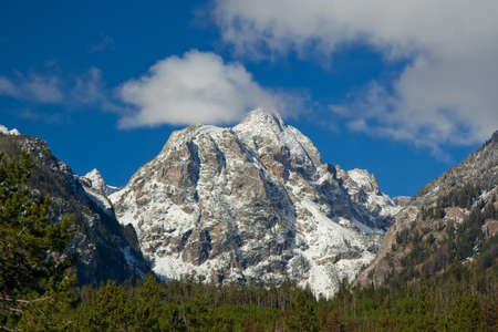 wyoming: Snowcapped mountain at Grand Teton National Park, Wyoming, USA Stock Photo